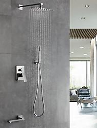 cheap -Shower Faucet - Contemporary Chrome Wall Mounted Ceramic Valve / Brass / Single Handle Four Holes Bath Shower Mixer Taps