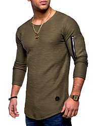 cheap -Men's Daily Weekend Basic Cotton T-shirt - Solid Colored Round Neck Black / Long Sleeve