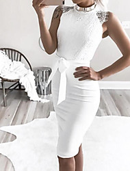 cheap -Women's Plus Size Party Going out Basic Skinny Bodycon Dress - Solid Colored Lace Crew Neck Summer White M L XL / Sexy