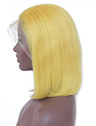 cheap -Remy Human Hair Lace Front Wig Bob style Peruvian Hair Straight Blonde Wig 130% Density with Baby Hair Soft Silky Natural Hairline Bleached Knots Women's Short Human Hair Lace Wig Guanyuwigs