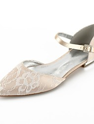 cheap -Women's Wedding Shoes Plus Size Flat Heel Pointed Toe Wedding Flats Comfort D'Orsay & Two-Piece Wedding Party & Evening Lace Ribbon Tie White Champagne Ivory