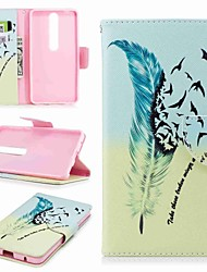 cheap -Case For Nokia Nokia 8 / Nokia 6 / Nokia 6 2018 Wallet / Card Holder / with Stand Full Body Cases Feathers Hard PU Leather