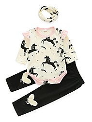 cheap -Baby Girls' Casual Daily Print Long Sleeve Cotton Clothing Set White