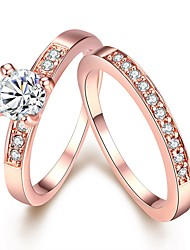 cheap -Women's Band Ring Ring Set Midi Rings Diamond Cubic Zirconia tiny diamond 2pcs Silver Rose Gold Copper Gold Plated Rose Gold Plated Circle Ladies Simple Fashion Wedding Gift Jewelry Solitaire Round