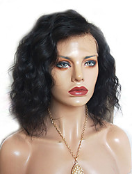 cheap -Remy Human Hair Full Lace Wig Bob Short Bob Side Part style Brazilian Hair Curly Wig 130% Density with Baby Hair Natural Hairline Bleached Knots Women's Short Human Hair Lace Wig