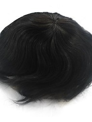 cheap -Men's Remy Human Hair Toupees fine mono in center with poly all around men hair system Straight 100% Hand Tied Comfy