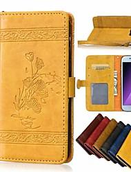 Недорогие -Кейс для Назначение SSamsung Galaxy A3 (2017) / A5 (2017) / A8+ 2018 Кошелек / Бумажник для карт / Флип Чехол Цветы Твердый Кожа PU