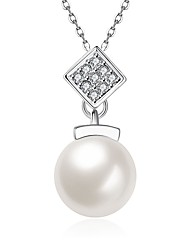 cheap -Women's Cubic Zirconia Freshwater Pearl Pendant Necklace Ladies Fashion Pearl Stainless Steel 18K Gold White 50 cm Necklace Jewelry For Gift Daily