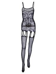 Недорогие -Жен. Сетка Большие размеры Сексуальные платья Комбинация Ночное белье Однотонный Черный Один размер