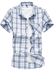 cheap -Men's Plus Size Plaid Slim Shirt - Cotton Basic Daily Going out Blue / Yellow / Summer / Short Sleeve