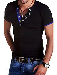 cheap -Men's Sports Weekend Basic Cotton Slim T-shirt - Solid Colored V Neck Black / Short Sleeve