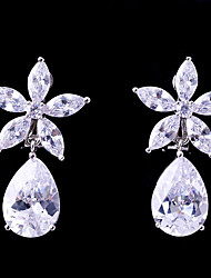 cheap -Women's Cubic Zirconia Clip on Earring Flower Fashion Elegant Earrings Jewelry White For Wedding Evening Party One-piece Suit