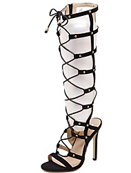 cheap -Women's Boots Stiletto Heel Open Toe Synthetics Knee High Boots Sweet / Minimalism Fall / Spring & Summer Black / Party & Evening