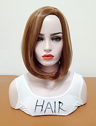 cheap -Synthetic Wig Straight Bob Side Part Wig Medium Length Medium Golden Brown Synthetic Hair Women's Women Highlighted / Balayage Hair Brown