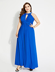 cheap -Women's Going out Street chic Maxi Swing Dress - Solid Colored High Waist Halter Neck Spring Blue XXXXL XXXXXL XXXXXXL