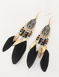 cheap -Cubic Zirconia Drop Earrings Feather Ladies Vintage Ethnic Fashion Oversized Native American Feather Earrings Jewelry Rainbow / Red / Dark Navy For Daily Street
