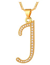 cheap -Men's Cubic Zirconia Pendant Necklace Monogram Name Alphabet Shape Letter Fashion Copper Gold Silver 55 cm Necklace Jewelry For Wedding Gift Daily Masquerade Engagement Party Prom