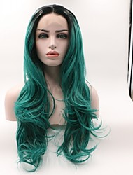 cheap -Synthetic Lace Front Wig Wavy Minaj Style Layered Haircut Lace Front Wig Green Black / Dark Green Synthetic Hair Women's Curler & straightener Green Wig Medium Length Skyworth / Yes