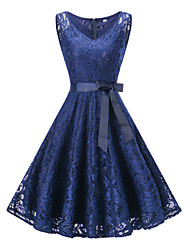 cheap -Women's Plus Size A Line Dress - Sleeveless Solid Colored Lace Bow Summer V Neck 1950s Vintage Party Holiday Going out Wine White Blushing Pink Navy Blue S M L XL XXL XXXL