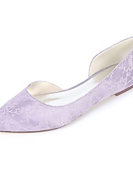 cheap -Women's Flats Flat Heel Pointed Toe Ballerina Wedding Party & Evening Satin Floral White Light Purple Blue