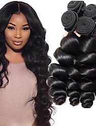 cheap -4 Bundles Indian Hair Wavy Human Hair Natural Color Hair Weaves / Hair Bulk Extension Human Hair Extensions Natural Color Human Hair Weaves Easy dressing Hot Sale 100% Virgin Human Hair Extensions