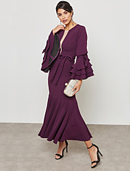 cheap -Women's Ruffle Plus Size Party / Work Street chic / Sophisticated Maxi Slim Bodycon / Sheath / Swing Dress - Solid Colored Ruffle / Lace up High Waist Summer Green Purple XL XXL XXXL / Sexy