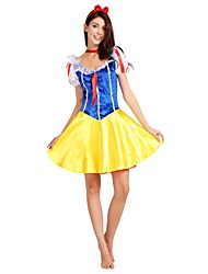 cheap -Princess Movie / TV Theme Costumes Costume Women's Adults' Dresses Halloween Halloween Carnival Children's Day Festival / Holiday Polyster Outfits Yellow Solid Colored Classic Halloween
