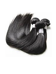 Недорогие -3 Связки Бразильские волосы Прямой Не подвергавшиеся окрашиванию человеческие волосы Remy Накладки из натуральных волос Естественный цвет Ткет человеческих волос / 10A