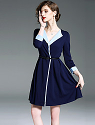 cheap -Women's Daily / Going out Street chic Mini A Line Dress - Color Block V Neck Summer Blue M L XL