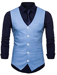 cheap -Men's Daily / Work Business / Basic Summer Plus Size Regular Vest, Solid Colored V Neck Sleeveless Cotton / Polyester Navy Blue / Wine / Light Blue / Business Casual / Slim