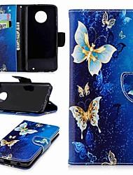 Недорогие -Кейс для Назначение Motorola MOTO G6 / Moto G5s / Мото G5 Plus Кошелек / Бумажник для карт / со стендом Чехол Бабочка Твердый Кожа PU