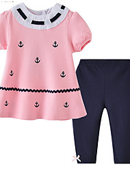 cheap -Baby Girls' Basic Daily Print Short Sleeve Regular Clothing Set Blushing Pink