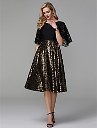 cheap -A-Line Jewel Neck Knee Length Lace / Sequined Black / Gold Cocktail Party / Wedding Guest Dress with Sequin / Appliques 2020