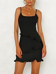 cheap -Women's Ruffle Going out Basic Street chic Mini Slim Sheath Dress - Solid Colored Black & Red, Ruffle High Waist Strap Summer Black Red S M L XL / Sexy