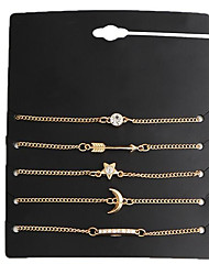 cheap -5pcs Women's Chain Bracelet Charm Bracelet Geometrical Ladies Vintage Metal Bracelet Jewelry Gold For Date Street