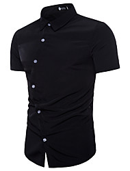 cheap -Men's Casual Leisure Sports Basic EU / US Size Cotton Shirt - Solid Colored Lace up Black / Short Sleeve