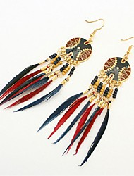 cheap -Turquoise Drop Earrings Leaf Feather Ladies Vintage Fashion Oversized Native American western style Resin Feather Earrings Jewelry Coffee / Rainbow / Light Blue For Carnival Going out
