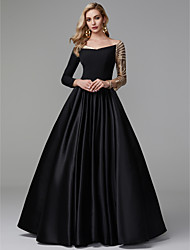 cheap -Ball Gown Off Shoulder Floor Length Satin / Sequined Sparkle / Black Formal Evening / Quinceanera Dress with Sequin 2020