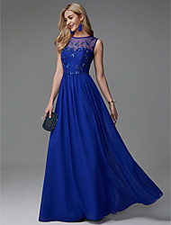 cheap -A-Line Illusion Neck Floor Length Chiffon Empire / Blue Formal Evening / Wedding Guest Dress with Appliques 2020