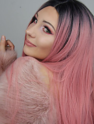 cheap -Synthetic Lace Front Wig Straight Kardashian Style Middle Part Lace Front Wig Pink Synthetic Hair Women's Heat Resistant / Party / Women Pink Wig Long 150% Density / Glueless / Yes