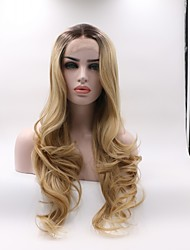 cheap -Synthetic Lace Front Wig Wavy Layered Haircut Lace Front Wig Black / Blonde Medium Length Black / Gold Synthetic Hair Women's Curler & straightener Black / Blonde