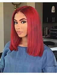 cheap -Remy Human Hair Lace Front Wig Bob Short Bob Kardashian style Peruvian Hair Straight Wig 130% Density Women's Short Human Hair Lace Wig beikashang