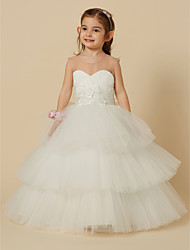 cheap -Ball Gown Floor Length Flower Girl Dress - Satin / Tulle Sleeveless Illusion Neck with Buttons / Flower / First Communion