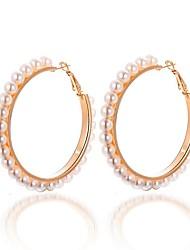 cheap -Women's Hoop Earrings Sweet Oversized Imitation Pearl Earrings Jewelry Gold For Party Daily