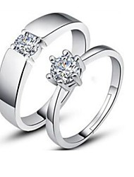 cheap -Couple's Couple Rings Cubic Zirconia Silver Silver Plated Irregular Ladies Classic Fashion Engagement Daily Jewelry Solitaire Matching His And Her Snowflake