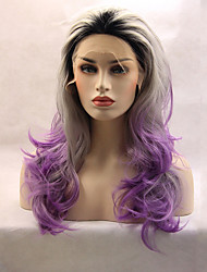 cheap -Synthetic Wig Human Hair Lace Wig Wavy Middle Part Lace Front Wig Medium Length Long Purple Synthetic Hair Women's Color Gradient Purple Gray