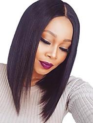 cheap -Remy Human Hair Lace Front Wig Bob Short Bob Kardashian style Brazilian Hair Straight Wig 130% Density Women's Short Human Hair Lace Wig beikashang