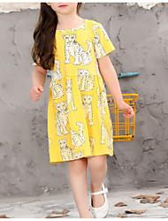 cheap -Kids Girls' Basic Geometric Sleeveless Dress Yellow