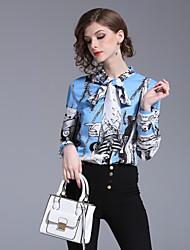 cheap -Women's Work Street chic Slim Shirt - Floral Bow / Print Stand