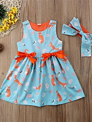 cheap -Toddler Girls' Active Daily Holiday Tropical Leaf Print Color Block Patchwork Bow Ruched Pleated Sleeveless Knee-length Dress Blue / Cute